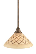 Toltec Lighting 26-BRZ-718 Stem Pendant Light Bronze Finish with Chocolate Icing Glass, 41cm