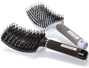 Boar Bristle Hair Brush – Curved and Vented Detangling Hair Brush for Women Long, Thick, Thin, Curly & Tangled Hair Vent Brush