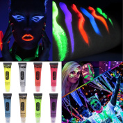 Ochine Washable Non-Toxic UV/Backlight Reactive Neon Fluorescent Face and Body Paint Glow Kit, 8 Colours