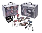Cameo Carry All Trunk Makeup Kit with Reusable Aluminium Case Exclusive Holiday Gift Set, Black/White