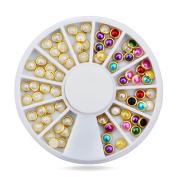 Joyeee 3D Professional Manicure Nail Art Decorations Rhinestone Wheel Set Mix Design Nail Glitter DIY Decor Accessories #13