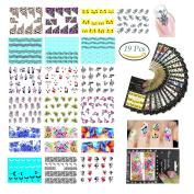 18 Pcs Nail Sticker DIY Beauty Nail Decals Cute Mini Heart Flower Fantasy Colour Designs Makeup Tool Nail Art Adhesive Foils