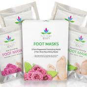 Foot Peel Mask Set - 2 Exfoliating / Peeling + 2 Nourishing Socks For Longer Lasting Baby Soft Feet After Exfoliation - Fast Dry Skin Treatment - Dead Skin & Callus Remover
