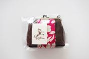 """Yamako """"Kakishibu-zome"""" Pink 13cm Pouch Gama-kuchi 89076 Made in Japan"""