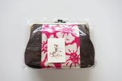 """Yamako """"Kakishibu-zome"""" Pink 18cm Pouch Gama-kuchi 89080 Made in Japan"""