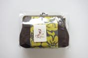 """Yamako """"Kakishibu-zome"""" Yellow 18cm Pouch Gama-kuchi 89078 Made in Japan"""