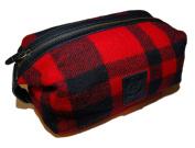Polo Ralph Lauren Mens Buffalo Plaid Wool Lavatory Travel Dopp Bag Red Black