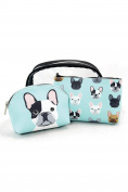 Womens Cute Animal Pet Print PU Material 3 Pcs Cosmetic Bag Set P67562 Unboxed Blue)