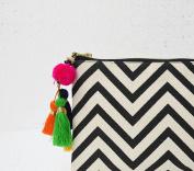 Black and white, geometric pattern, chevron print, make up or cosmetic bag, utility pouch, 13cm X 23cm
