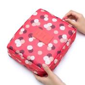 Travel Cosmetic Bag Toiletry Organiser Floral Makeup Pouch, Waterproof Case Hanging Organiser Bags Red Flower