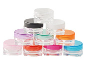 3g Gramme 3ml Jar Refillable Plastic Containers Jars Cosmetic Sample Empty Container Lot Cream Pot for Make Up Nail Powder Eye Shadow Lotion Glitter Nail Art Lip-Balm (Mix Colour of Lids) Pack of 50
