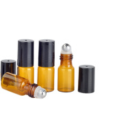 20 Sets Mini Amber Glass Roller Bottle Empty Essential Oil Metal Roller Ball Bottles Containers Cosmetic Perfume Lip Balms Glass Roll On Bottles