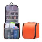Makeup Bag with Compartments Hanging Cosmetic Bag Toiletry Bags Large Capacity Waterproof Bag Makeup Brushes Accessories Travel Case Colour Orange