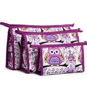 3pcs Cosmetic Bags Portable Travel Toiletry Pouch Makeup Organiser Clutch Bag with Zipper Waterproof Purple Owl