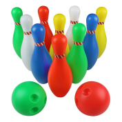 Skittles Bowling Set Toy Outdoor Indoor 10 Bowling Pins Game with 2 Balls for Kids Aged 3 4 5 6 7 8, Large Size