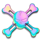4-5 Mins Fidget Spinner EDC Hand Fidget Toy, Multicoloured Skulls Design Titanium Rainbow Electroplating Alloy Stress Reducer High Speed R180 Stainless Steel Bearing Finger Tri-Spinner Relief Toys for Focus, Killing Time, Kids and Adults, Best for Birt ..