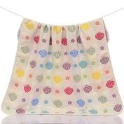 Dulcii 6 Layers Baby Bath Towel Cotton Gauze Blanket For Baby's Delicate Skin 110x115cm/43x45inch - Strawberry