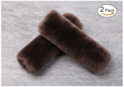 Alusbell 2PCS Genuine Wool Soft Seatbelt Pads , Leather Backing Sheepskin Shoulder Strap Belt Covers Harness For Cars/Bags/Cameras/,Perfect Stress Relax for Your Neck And Shoulder