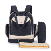 Multi-function Nappy Hand Bag Large Specious Tote Hand Shoulder Backpack/Stroller Straps/Changing Pad/Feeding Bottle Light Dark Blue