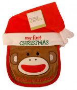 Baby Santa Monkey Bib and Hat with Embroidered My First Christmas