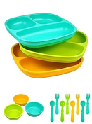 Re-Play Divided Plates, Bowls, Forks and Spoons SET - Recycled Milk Jugs, BPA-free
