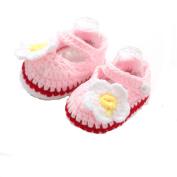 KuoShun Baby Girls Handmade Knit Sock Roses Infant Shoes (9.9cm 6.6cm