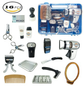 Fashion Barber Pretend Play Tool Kit, Hair Stylist Salon Playset for Kids with Hair Trimmers, Dryer, Razors and Styling Accessories