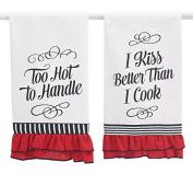 Burton & Burton 9730088 Tea Towel Assorted Messages, Red/White