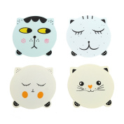 BCHZ 4X Wooden Cute Cat Mats Coaster Coffee Tea Drinks Cup Pad Kitchen Dining Placemat