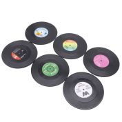 BCHZ Fashion Vinyl Silicone Cup Mats 6pcs/ Set Record Retro CD Type Drink Mat Coasters Tableware Placemat