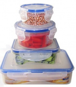 Uniware 4 Pcs Microwave Safe Air Tight Plastic Storage Container 750, 250, 250, 150ml [7509]
