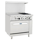 Atosa ATO-24G2B 90cm Gas Range. (2) Open Burners and 60cm Griddle on the LEFT with One 70cm 1/2 Wide Oven