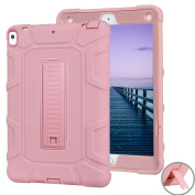 iPad Pro 10.5 Kickstand Case, SAVYOU Shockproof Drop Protection Heavy Duty Rugged Triple-Layer Defender Hybrid Case Silicone TPU Bumper Cover for Apple iPad Pro 27cm 2017 Tablet Rose Gold