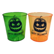 Halloween Shot Glasses - Durable Plastic - 30ml - With Happy Halloween Design - 24 Pack - 12 Pieces Green, 12 Pieces Orange - Perfect For Parties - Get Dressed Up & Drunk