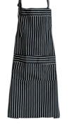 Durable Polyester Apron with Pocket Simple Restaurant Apron Home Bib,Black vertical lines