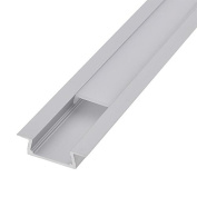 LEDwholesalers Aluminium Channel System with Cover, End Caps, and Mounting Clips, for LED Strip Installations, Flush Mount, Pack of 5x 1m Segments, 1908-FM