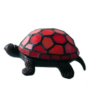 River of Goods 13470S Stained Glass Battery Operated Wireless Turtle Accent Lamp, 6.4cm , Red