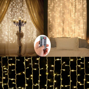Battery Operated Curtain String Lights,300 LED Icicle Window Background Fairy Lights [Remote,8 Mode,Timer,3m ×3m, Dimmable,] Decoration Lights for Outdoor Wedding,Camping,RV,BBQ Party
