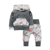 2pcs Infant Baby Boy Girl Outfit, Keepfit Toddler Clothes Set Floral Hoodie Tops+Pants