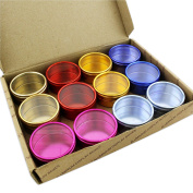 12 Colour Pots Jewellery Storage Box Watch Beads Gem Mixed Container Metal Metal