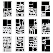 Bullet Journal Stencil Plastic Planner Stencils Journal/Notebook/Diary/Scrapbook DIY Drawing Template Stencil 10cm x 18cm , 12 Pieces