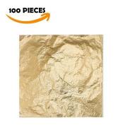 Bullet Face 100 Sheets 14cm by 14cm Imitation Gold Leaf Foil Paper for Arts, Gilding Crafting, Decoration DIY
