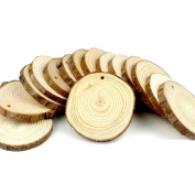 CEWOR 15pcs 7.6cm - 8.9cm Natural Wood Slices Unfinished Predrilled Round Discs Tree Bark Wooden Circles for DIY Crafts