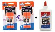 Elmer's bundle Washable Liquid School Glue, White, Dries Clear, 120ml Plus Disappearing Purple Elmer's School Glue Stick, 6g, 4pk