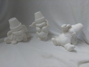Cracked Pot Boy Bunnies 13cm set of 3 Ceramic Bisque, Ready To Paint