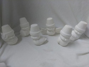 Cracked Pot Birds 13cm set of 6 Ceramic Bisque, Ready To Paint