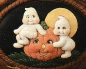 Dona's Ghosts with Pumpkin Seasons Insert Ready to Paint Ceramic Bisque - Hand Poured in the USA