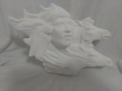 Native Carved Man with Wild Ponies 20cm x 25cm Ceramic Bisque Ready To Paint