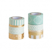 Mint Green/Gold Washi Tape - 9 Spools Rolls