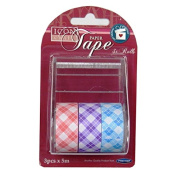 Decorative Paper Gift Wrap Tape with Dispenser - Gingham, Pack of 3 x 5 Metre, Mixed Colours